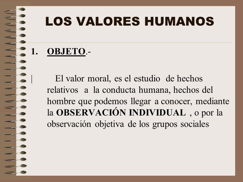 LOS VALORES HUMANOS 1.OBJETO.- |El valor moral, es el estudio de hechos relativos a la conducta humana, hechos del hombre que podemos llegar a conocer