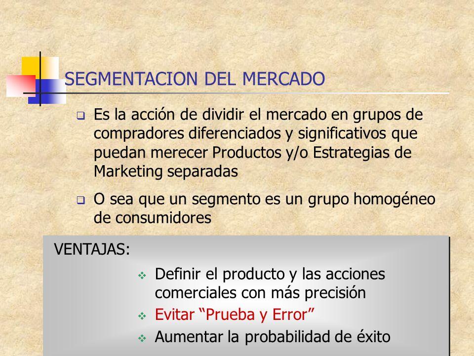 SEGMENTACION DEL MERCADO Es la acción de dividir el mercado en grupos de compradores diferenciados y significativos que puedan merecer Productos y/o E