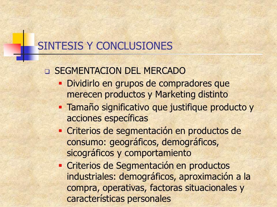 SINTESIS Y CONCLUSIONES SEGMENTACION DEL MERCADO Dividirlo en grupos de compradores que merecen productos y Marketing distinto Tamaño significativo qu