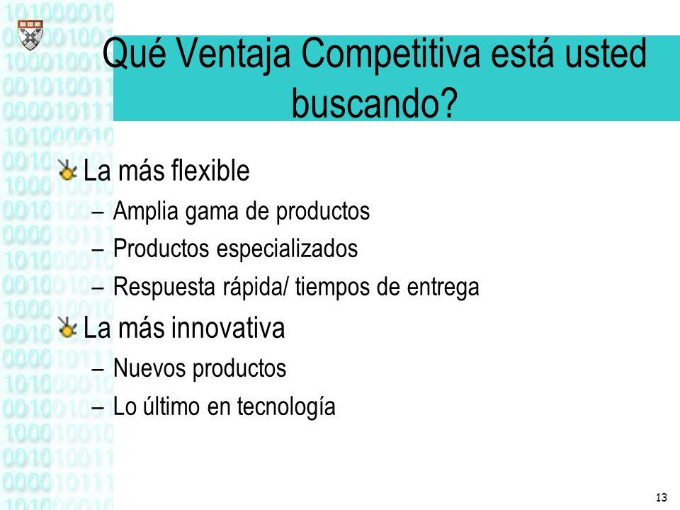 13 Qué Ventaja Competitiva está usted buscando? La más flexible –Amplia gama de productos –Productos especializados –Respuesta rápida/ tiempos de entr