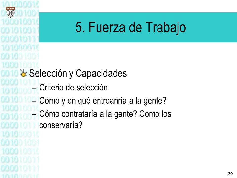 20 5. Fuerza de Trabajo Selección y Capacidades –Criterio de selección –Cómo y en qué entreanría a la gente? –Cómo contrataría a la gente? Como los co