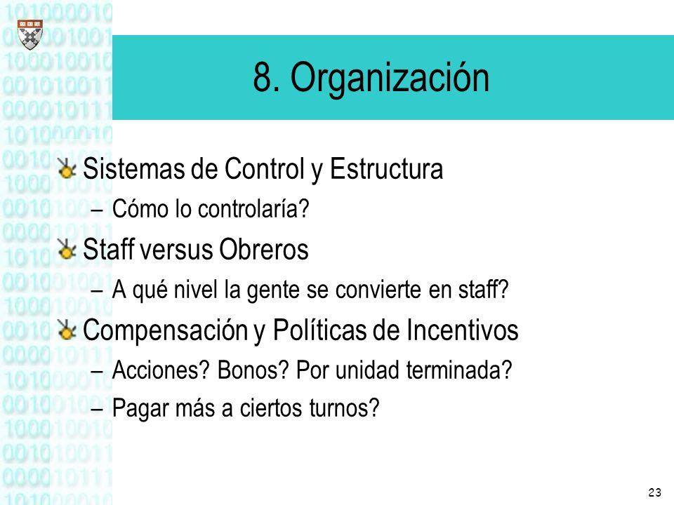 23 8. Organización Sistemas de Control y Estructura –Cómo lo controlaría? Staff versus Obreros –A qué nivel la gente se convierte en staff? Compensaci