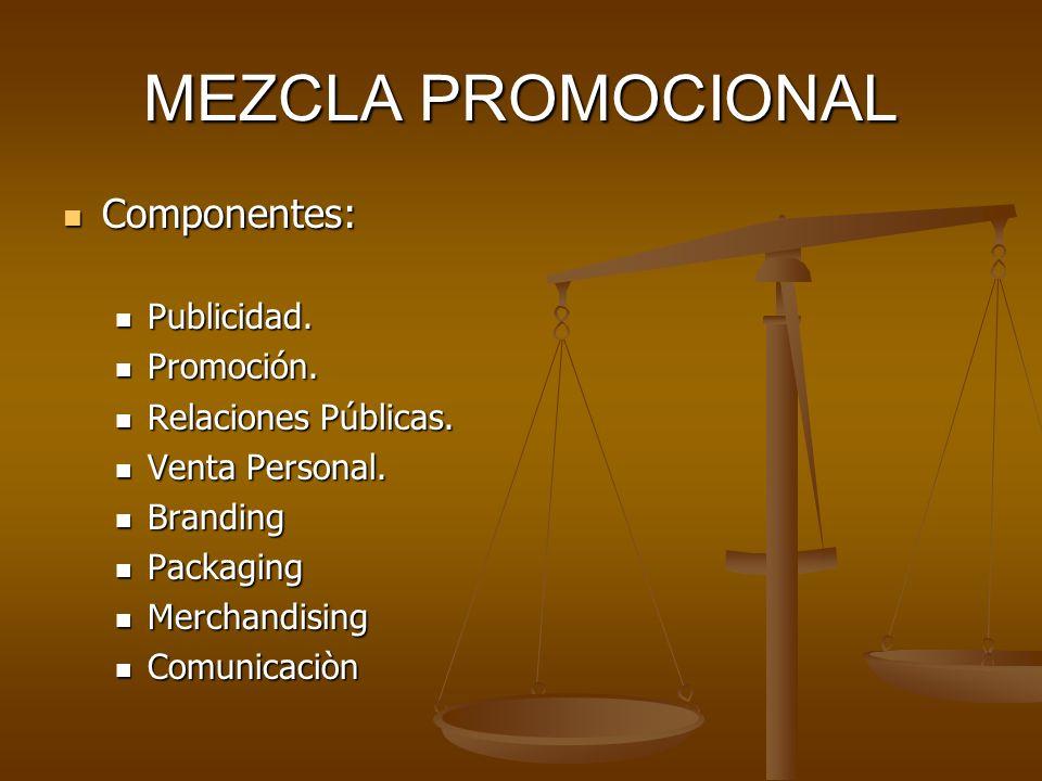 MEZCLA PROMOCIONAL Componentes: Componentes: Publicidad. Publicidad. Promoción. Promoción. Relaciones Públicas. Relaciones Públicas. Venta Personal. V