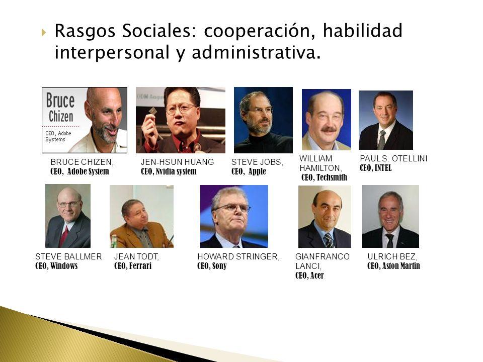 Rasgos Sociales: cooperación, habilidad interpersonal y administrativa. JEN-HSUN HUANG CEO, Nvidia system STEVE JOBS, CEO, Apple WILLIAM HAMILTON, CEO