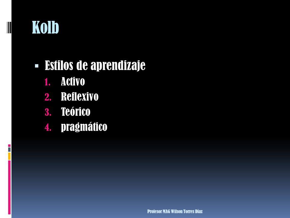 Kolb Estilos de aprendizaje 1. Activo 2. Reflexivo 3. Teórico 4. pragmático Profesor MAG Wilson Torres Díaz