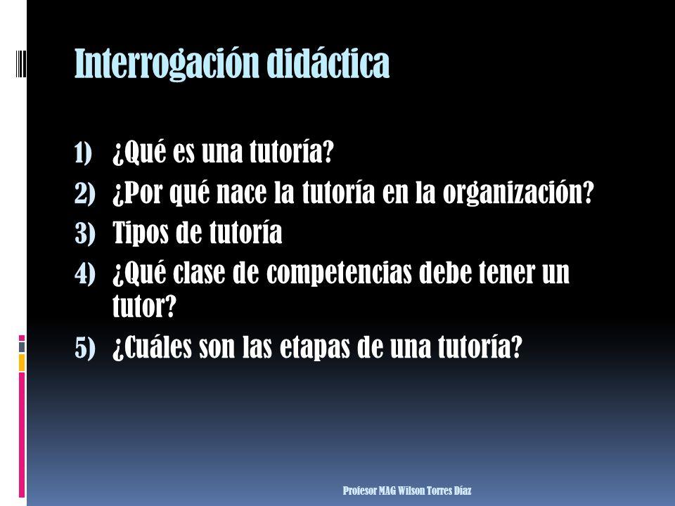 Interrogación didáctica 1) ¿Qué es una tutoría? 2) ¿Por qué nace la tutoría en la organización? 3) Tipos de tutoría 4) ¿Qué clase de competencias debe