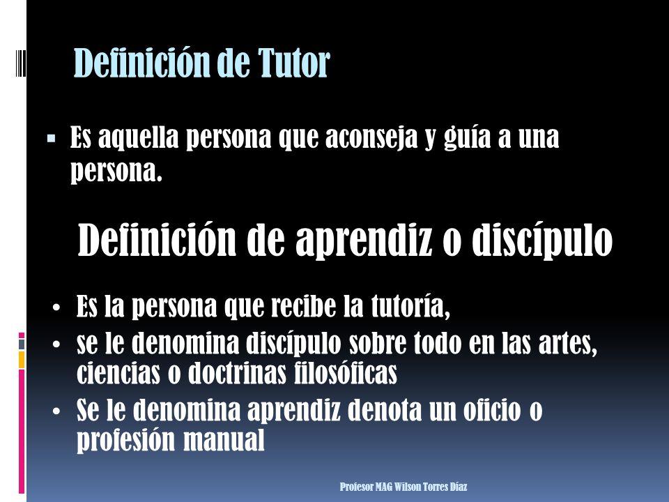 Definición de Tutor Es aquella persona que aconseja y guía a una persona. Definición de aprendiz o discípulo Es la persona que recibe la tutoría, se l