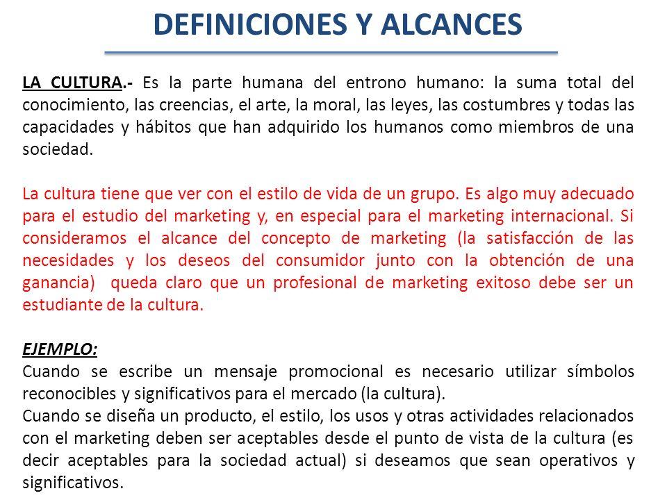 La cultura penetra en todas las actividades del Marketing: Establecimiento de preciosPromociónCanales de DistribuciónProductosEmpaques y Estilo Se juzgan dentro de un contexto cultural para determinar la aceptación, la resistencia o rechazo hacia ellos.
