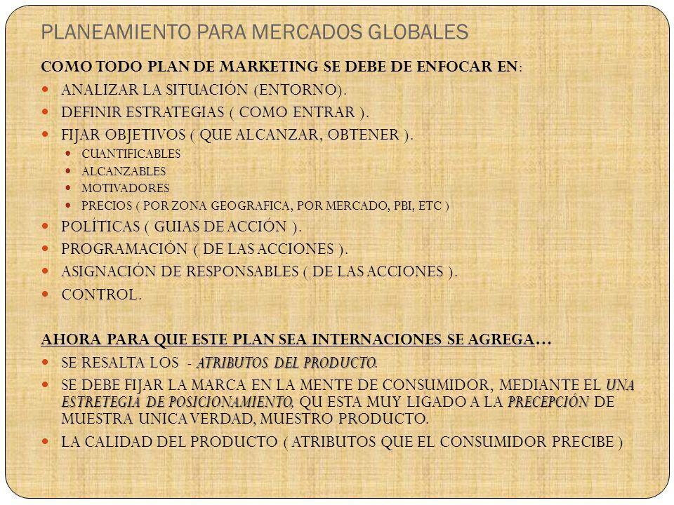 PLANEAMIENTO PARA MERCADOS GLOBALES COMO TODO PLAN DE MARKETING SE DEBE DE ENFOCAR EN: ANALIZAR LA SITUACIÓN (ENTORNO).