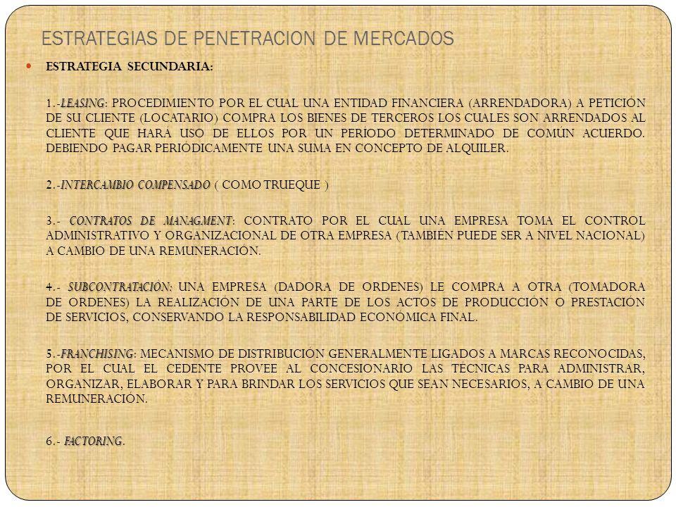 ESTRATEGIAS DE PENETRACION DE MERCADOS ESTRATEGIA SECUNDARIA: LEASING 1.-LEASING: PROCEDIMIENTO POR EL CUAL UNA ENTIDAD FINANCIERA (ARRENDADORA) A PETICIÓN DE SU CLIENTE (LOCATARIO) COMPRA LOS BIENES DE TERCEROS LOS CUALES SON ARRENDADOS AL CLIENTE QUE HARÁ USO DE ELLOS POR UN PERÍODO DETERMINADO DE COMÚN ACUERDO.
