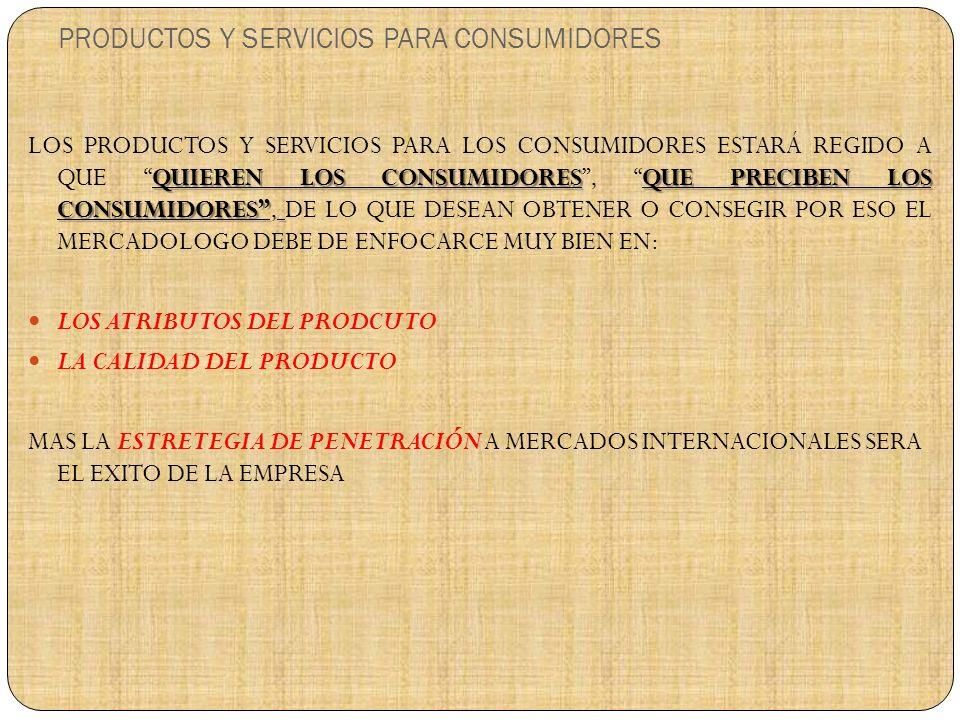 PRODUCTOS Y SERVICIOS PARA CONSUMIDORES QUIEREN LOS CONSUMIDORESQUE PRECIBEN LOS CONSUMIDORES LOS PRODUCTOS Y SERVICIOS PARA LOS CONSUMIDORES ESTARÁ REGIDO A QUE QUIEREN LOS CONSUMIDORES, QUE PRECIBEN LOS CONSUMIDORES, DE LO QUE DESEAN OBTENER O CONSEGIR POR ESO EL MERCADOLOGO DEBE DE ENFOCARCE MUY BIEN EN: LOS ATRIBUTOS DEL PRODCUTO LA CALIDAD DEL PRODUCTO MAS LA ESTRETEGIA DE PENETRACIÓN A MERCADOS INTERNACIONALES SERA EL EXITO DE LA EMPRESA