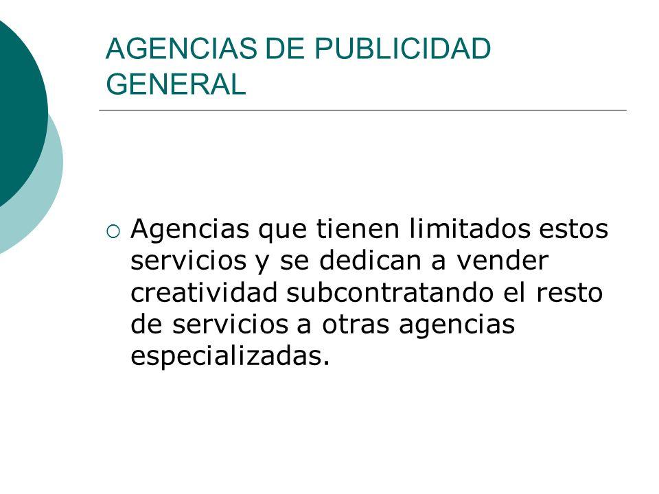Algunas agencia grandes, además poseen otro tipo de departamentos como: Investigación de Mercado.