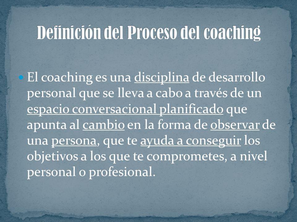 El coaching es una disciplina de desarrollo personal que se lleva a cabo a través de un espacio conversacional planificado que apunta al cambio en la forma de observar de una persona, que te ayuda a conseguir los objetivos a los que te comprometes, a nivel personal o profesional.