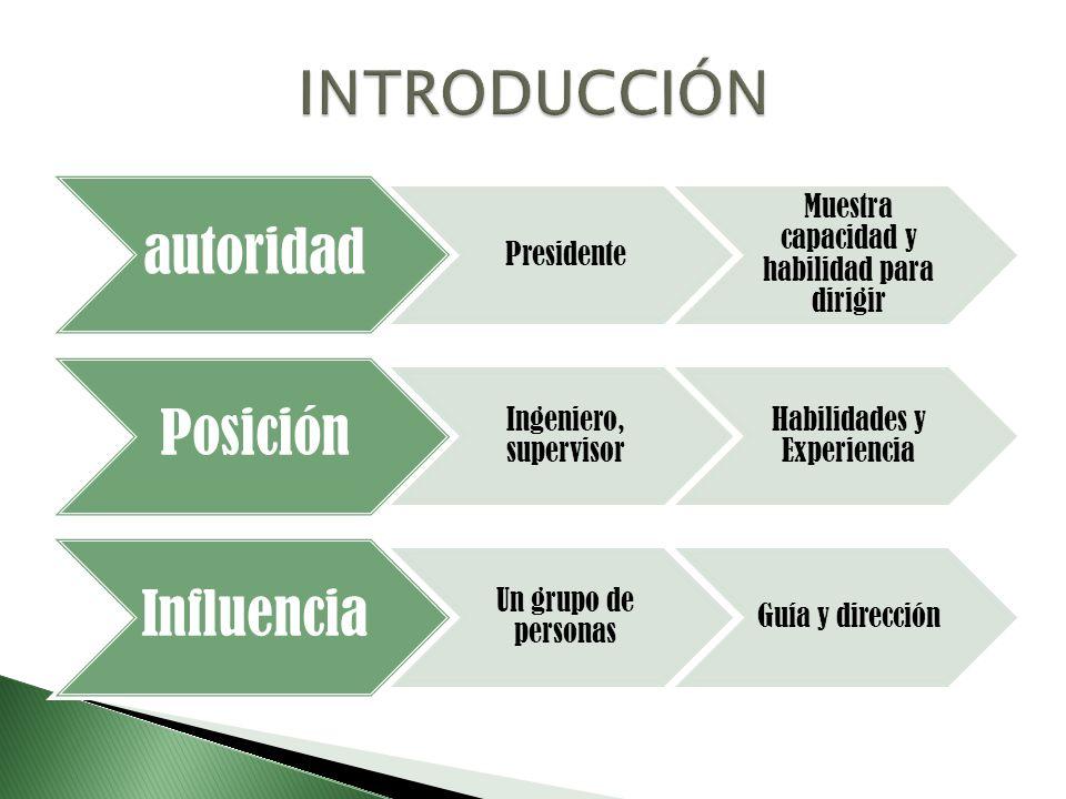 autoridad Presidente Muestra capacidad y habilidad para dirigir Posición Ingeniero, supervisor Habilidades y Experiencia Influencia Un grupo de person