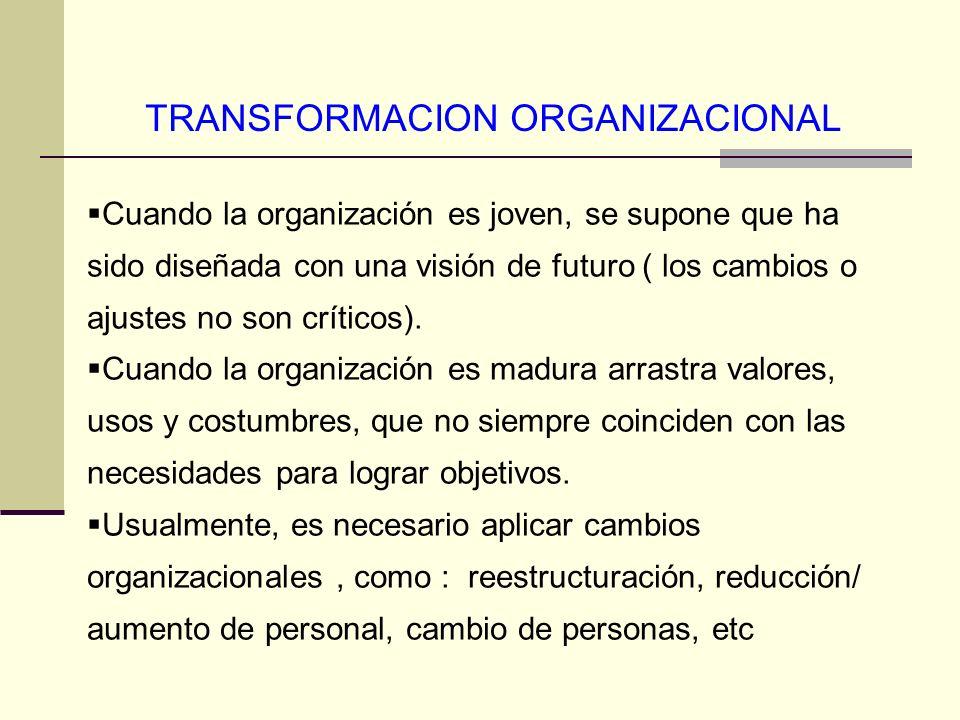 TRANSFORMACION ORGANIZACIONAL Cuando la organización es joven, se supone que ha sido diseñada con una visión de futuro ( los cambios o ajustes no son