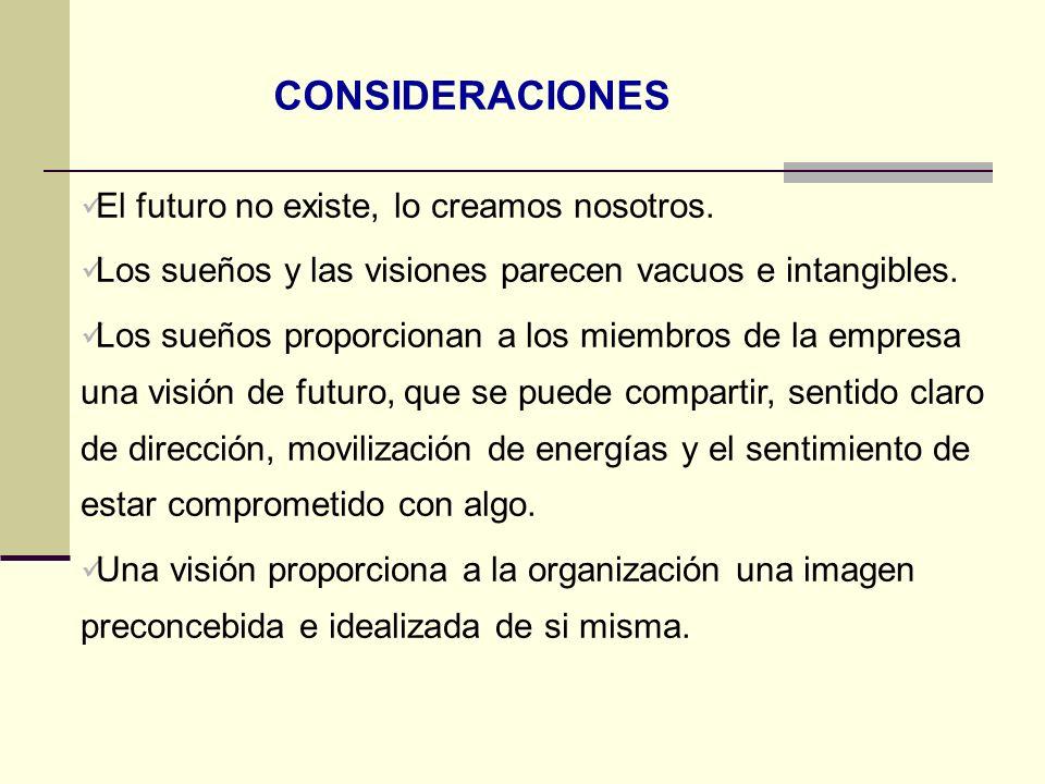 El futuro no existe, lo creamos nosotros. Los sueños y las visiones parecen vacuos e intangibles. Los sueños proporcionan a los miembros de la empresa