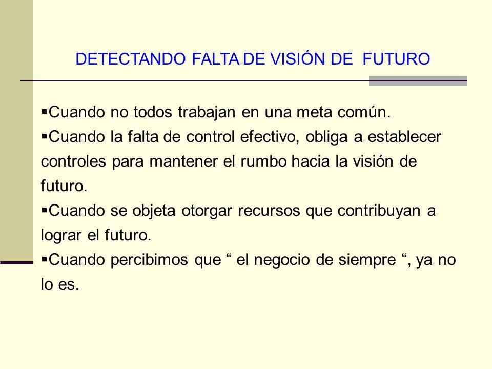 DETECTANDO FALTA DE VISIÓN DE FUTURO Cuando no todos trabajan en una meta común. Cuando la falta de control efectivo, obliga a establecer controles pa