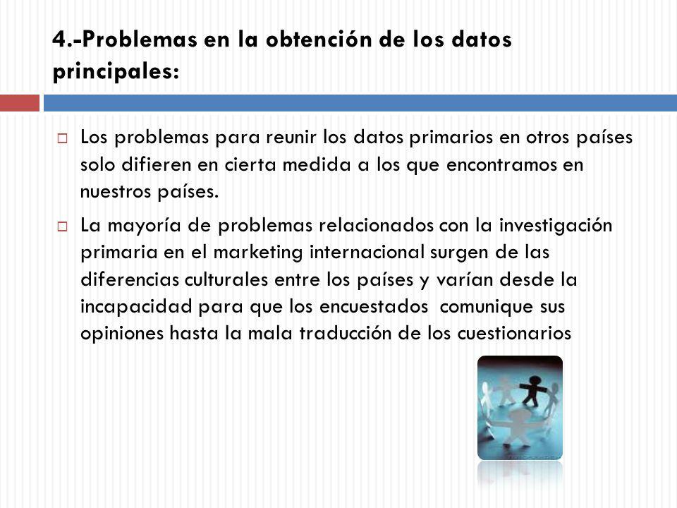 4.-Problemas en la obtención de los datos principales: Los problemas para reunir los datos primarios en otros países solo difieren en cierta medida a