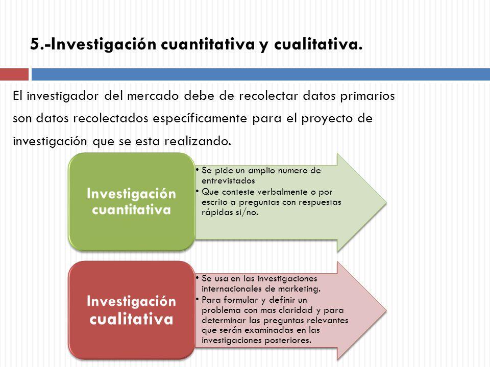 5.-Investigación cuantitativa y cualitativa. El investigador del mercado debe de recolectar datos primarios son datos recolectados específicamente par