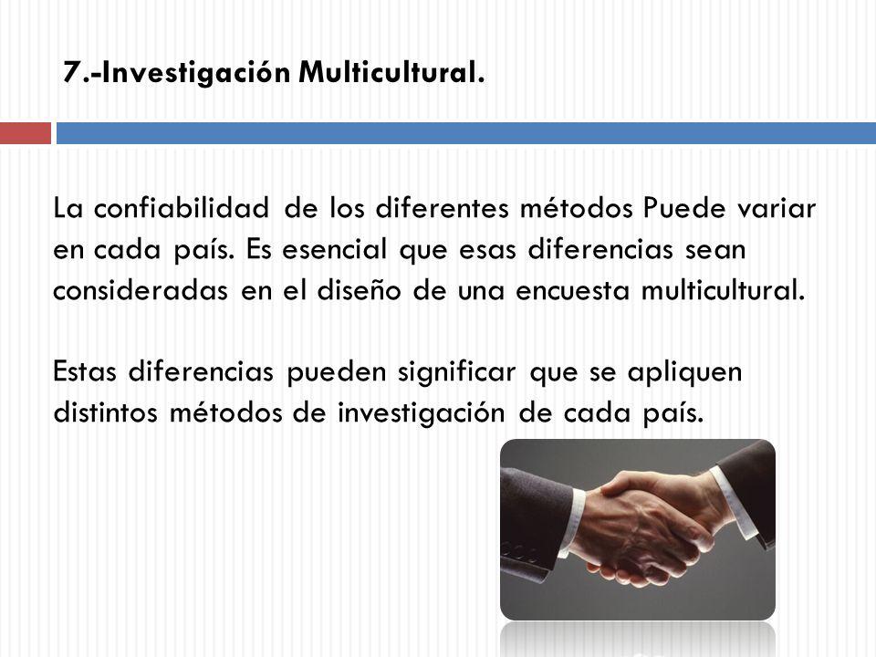 La confiabilidad de los diferentes métodos Puede variar en cada país. Es esencial que esas diferencias sean consideradas en el diseño de una encuesta