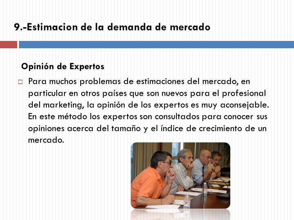 Opinión de Expertos Para muchos problemas de estimaciones del mercado, en particular en otros países que son nuevos para el profesional del marketing,