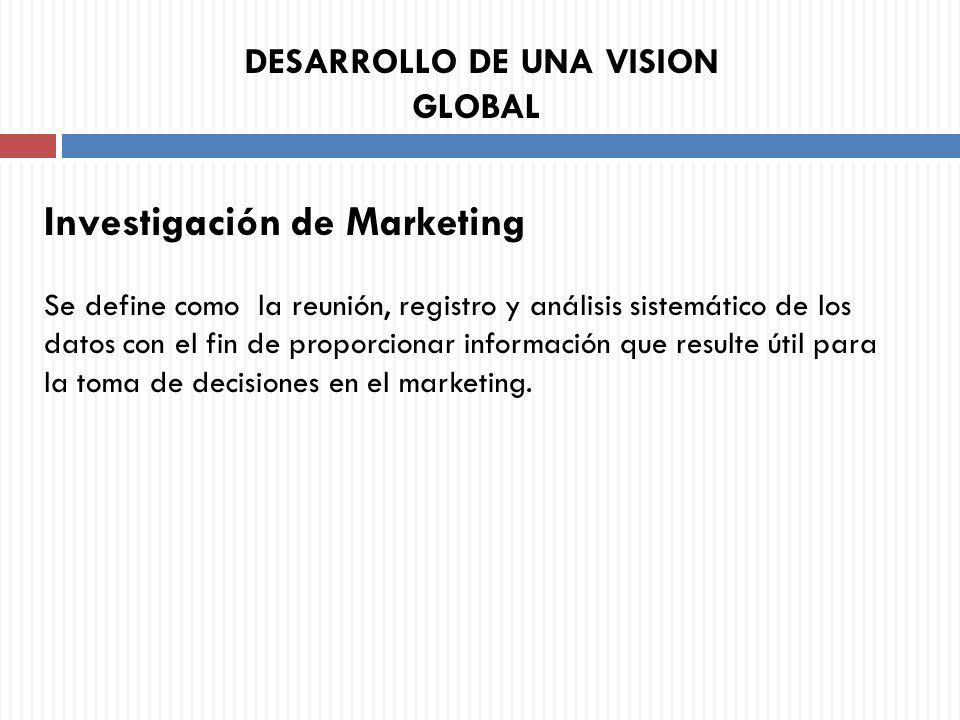 Investigación de Marketing Se define como la reunión, registro y análisis sistemático de los datos con el fin de proporcionar información que resulte