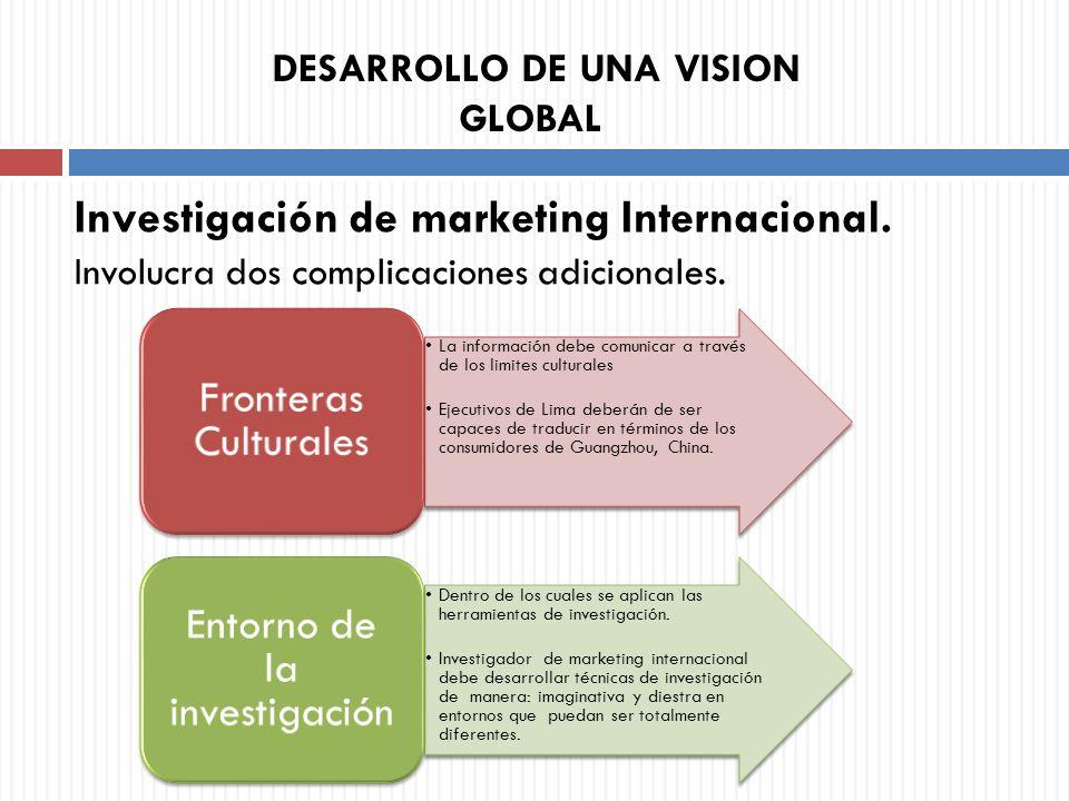 Involucra dos complicaciones adicionales. Investigación de marketing Internacional. DESARROLLO DE UNA VISION GLOBAL La información debe comunicar a tr