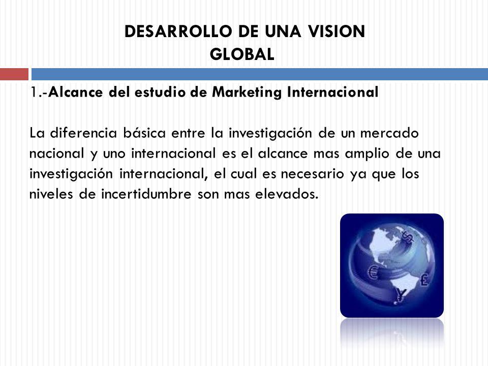 1.-Alcance del estudio de Marketing Internacional La diferencia básica entre la investigación de un mercado nacional y uno internacional es el alcance