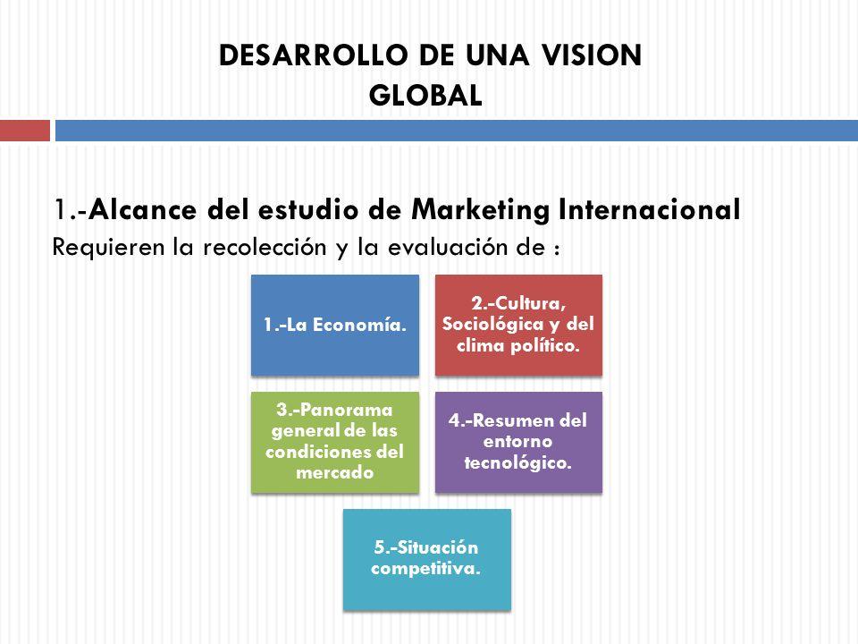 1.-Alcance del estudio de Marketing Internacional Requieren la recolección y la evaluación de : DESARROLLO DE UNA VISION GLOBAL 1.-La Economía. 2.-Cul