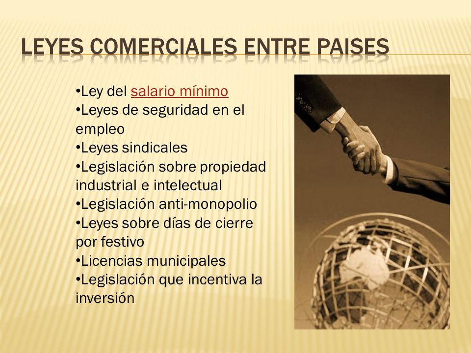 Ley del salario mínimosalario mínimo Leyes de seguridad en el empleo Leyes sindicales Legislación sobre propiedad industrial e intelectual Legislación