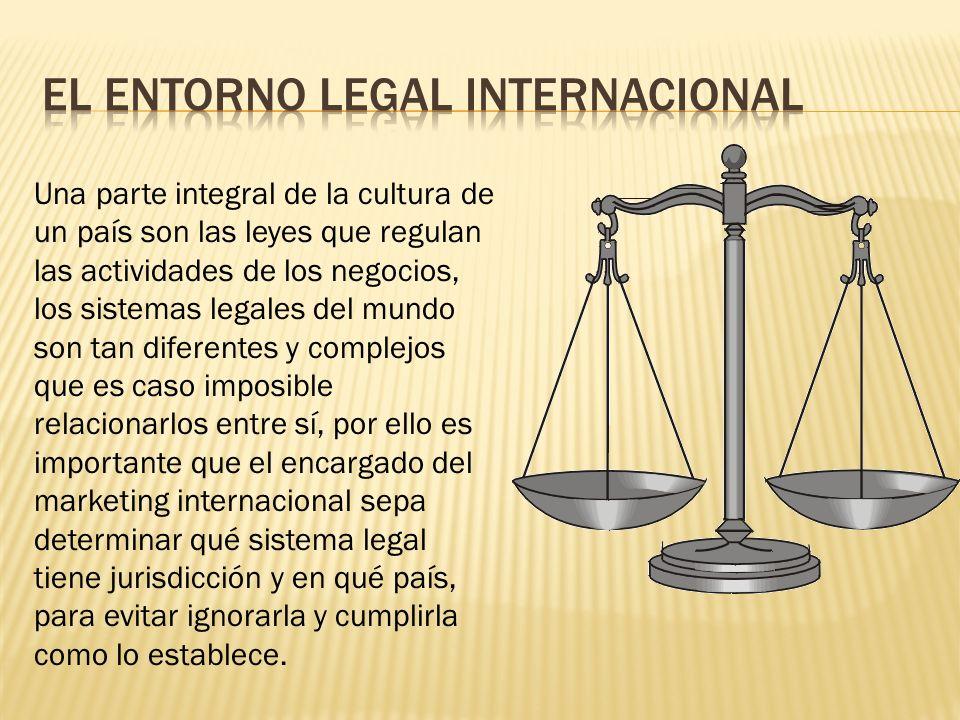 Una parte integral de la cultura de un país son las leyes que regulan las actividades de los negocios, los sistemas legales del mundo son tan diferent