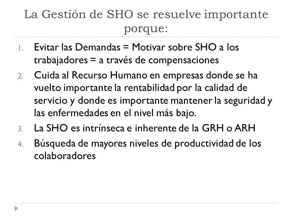 La Gestión de SHO se resuelve importante porque: 1. Evitar las Demandas = Motivar sobre SHO a los trabajadores = a través de compensaciones 2. Cuida a