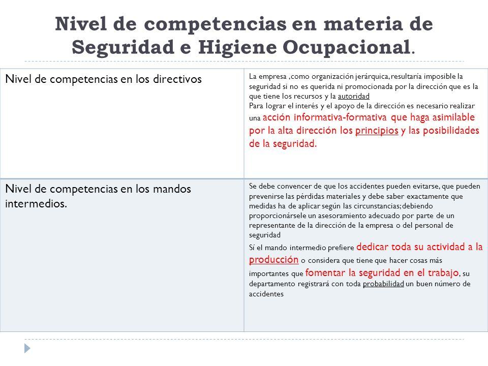 Nivel de competencias en materia de Seguridad e Higiene Ocupacional. Nivel de competencias en los directivos La empresa,como organización jerárquica,