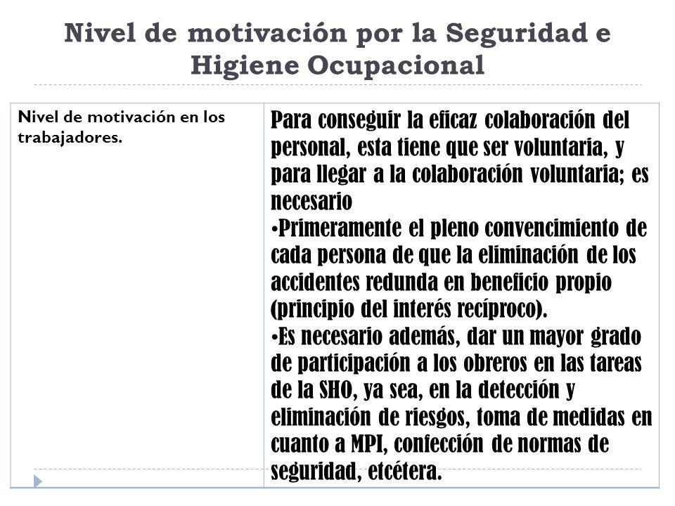 Nivel de motivación por la Seguridad e Higiene Ocupacional Nivel de motivación en los trabajadores. Para conseguir la eficaz colaboración del personal