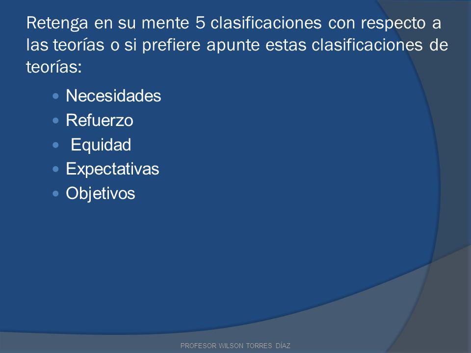 Retenga en su mente 5 clasificaciones con respecto a las teorías o si prefiere apunte estas clasificaciones de teorías: Necesidades Refuerzo Equidad E