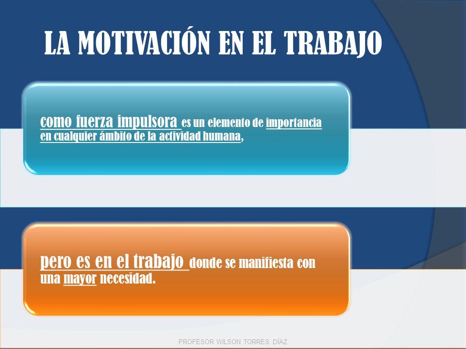LA MOTIVACIÓN EN EL TRABAJO como fuerza impulsora es un elemento de importancia en cualquier ámbito de la actividad humana, pero es en el trabajo dond