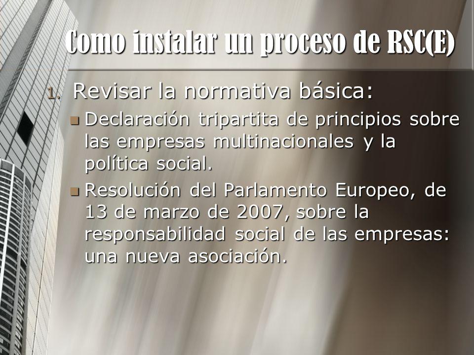 Como instalar un proceso de RSC(E) 1. Revisar la normativa básica: Declaración tripartita de principios sobre las empresas multinacionales y la políti