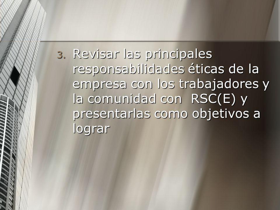 3. Revisar las principales responsabilidades éticas de la empresa con los trabajadores y la comunidad con RSC(E) y presentarlas como objetivos a logra