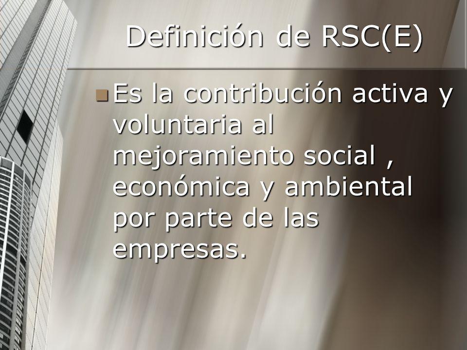 Definición de RSC(E) Es la contribución activa y voluntaria al mejoramiento social, económica y ambiental por parte de las empresas. Es la contribució
