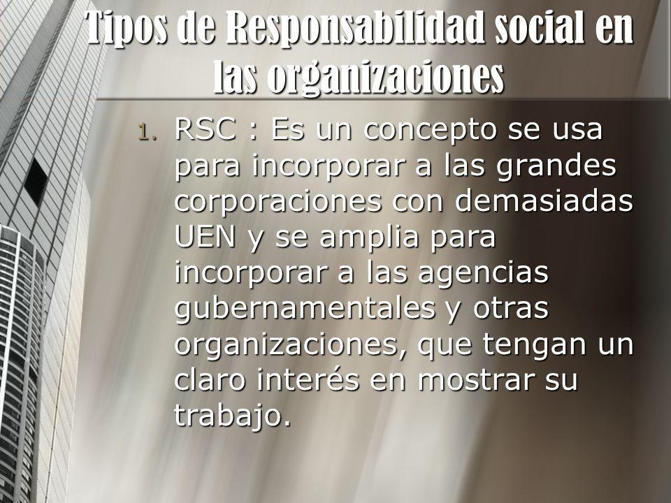 Tipos de Responsabilidad social en las organizaciones 1. RSC : Es un concepto se usa para incorporar a las grandes corporaciones con demasiadas UEN y