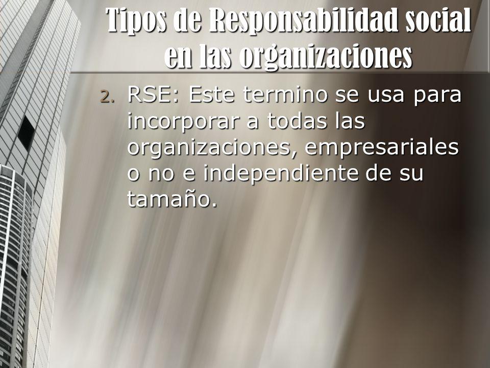 2. RSE: Este termino se usa para incorporar a todas las organizaciones, empresariales o no e independiente de su tamaño. Tipos de Responsabilidad soci