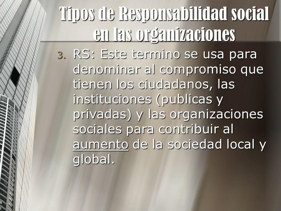 3. RS: Este termino se usa para denominar al compromiso que tienen los ciudadanos, las instituciones (publicas y privadas) y las organizaciones social