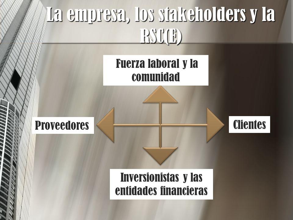 La empresa, los stakeholders y la RSC(E) Clientes Inversionistas y las entidades financieras Proveedores Fuerza laboral y la comunidad