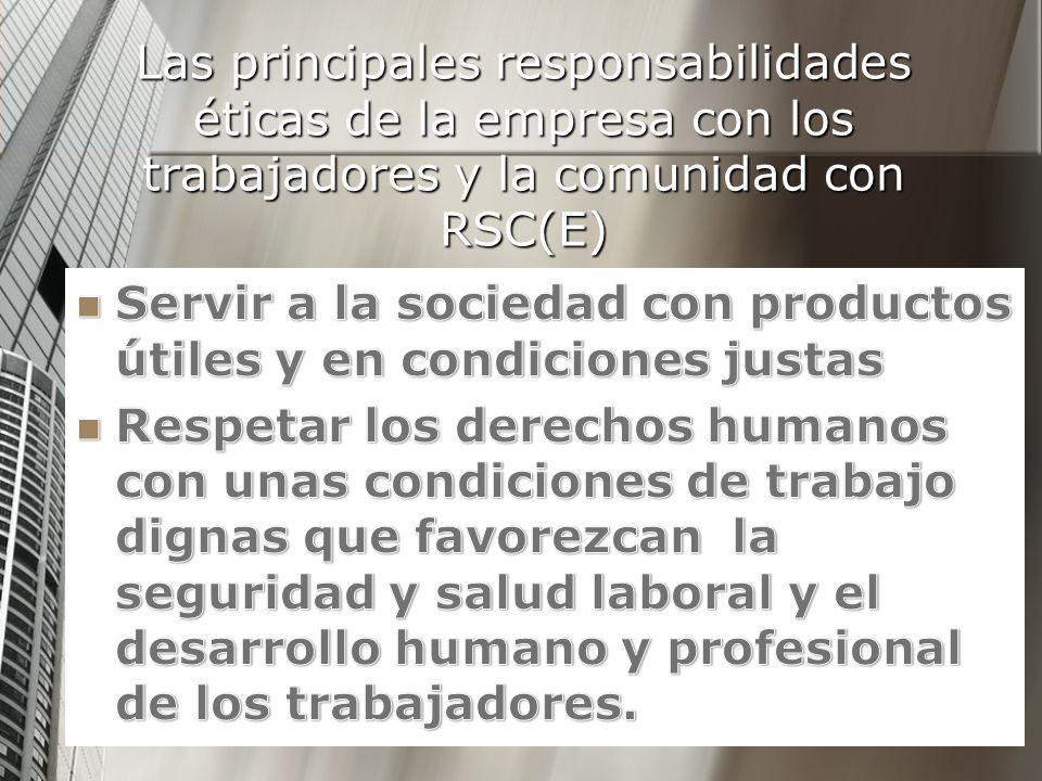 Las principales responsabilidades éticas de la empresa con los trabajadores y la comunidad con RSC(E)