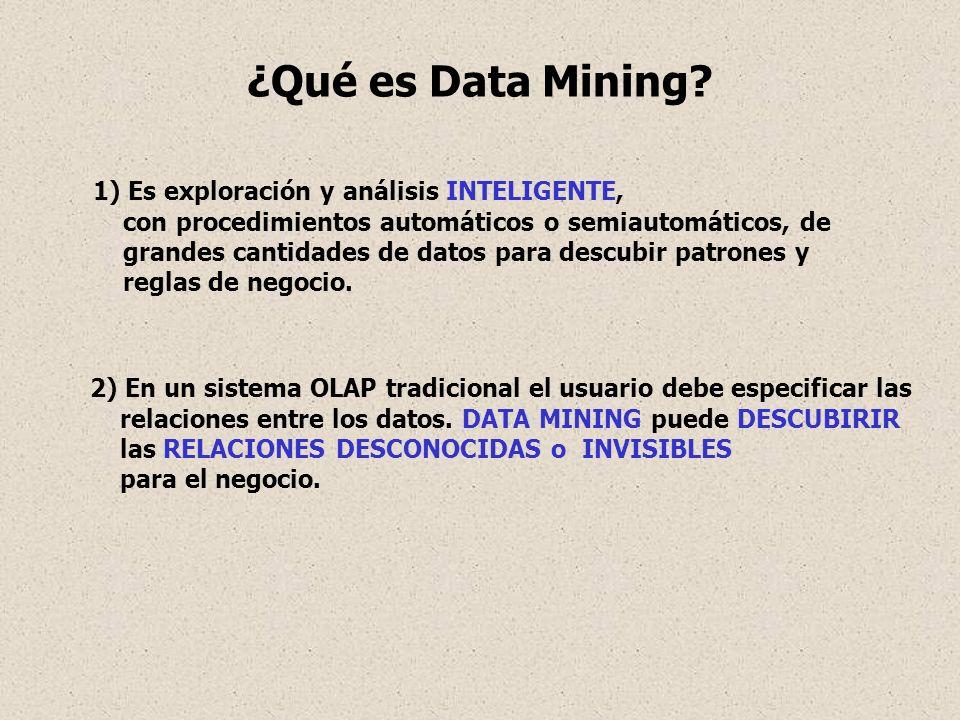 1) Es exploración y análisis INTELIGENTE, con procedimientos automáticos o semiautomáticos, de grandes cantidades de datos para descubir patrones y re