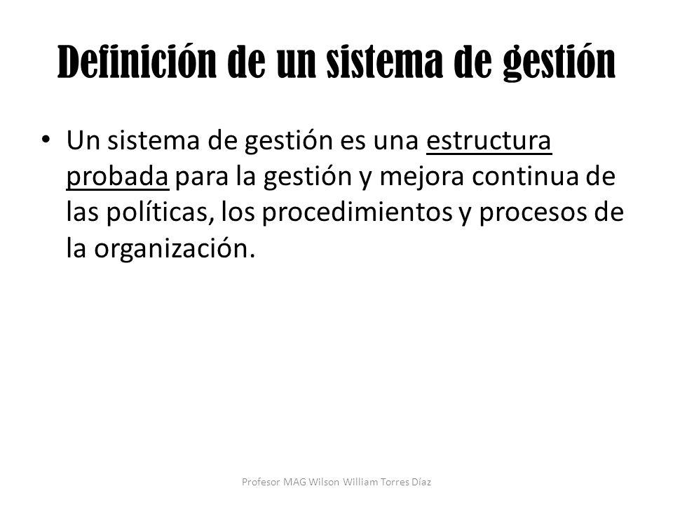 Definición de un sistema de gestión Un sistema de gestión es una estructura probada para la gestión y mejora continua de las políticas, los procedimie