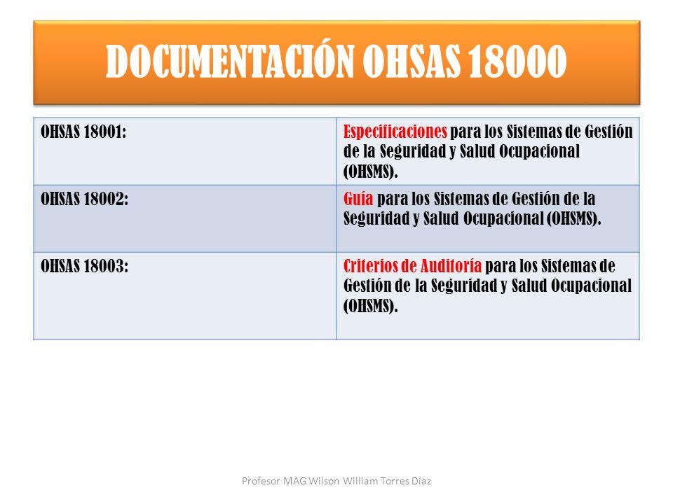 DOCUMENTACIÓN OHSAS 18000 OHSAS 18001:Especificaciones para los Sistemas de Gestión de la Seguridad y Salud Ocupacional (OHSMS). OHSAS 18002:Guía para