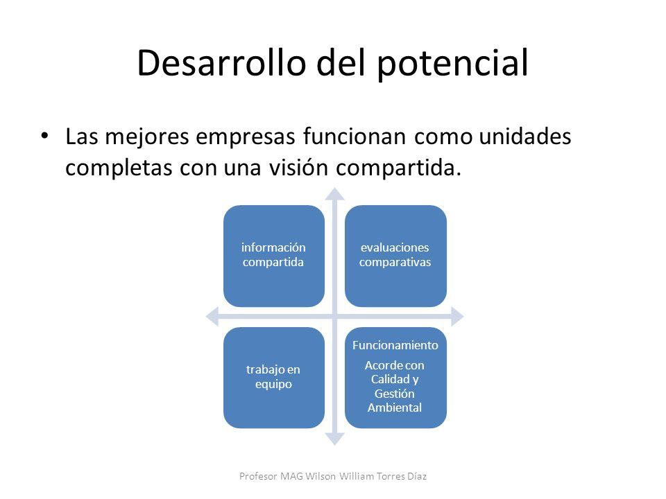 Desarrollo del potencial Las mejores empresas funcionan como unidades completas con una visión compartida. Profesor MAG Wilson William Torres Díaz inf