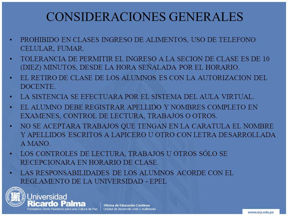 CONSIDERACIONES GENERALES PROHIBIDO EN CLASES INGRESO DE ALIMENTOS, USO DE TELEFONO CELULAR, FUMAR.