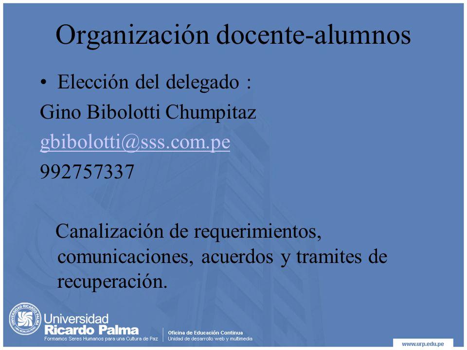 Organización docente-alumnos Elección del delegado : Gino Bibolotti Chumpitaz gbibolotti@sss.com.pe 992757337 Canalización de requerimientos, comunicaciones, acuerdos y tramites de recuperación.